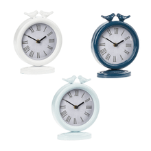 Enamel Desk Clock with Kissing Birds (3 pc. ppk.)
