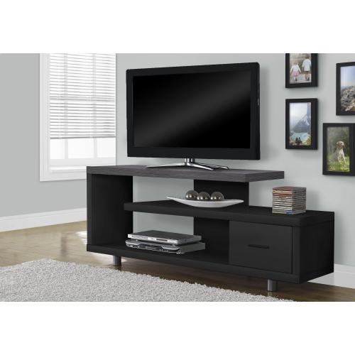 """Gallery - TV STAND - 60""""L / BLACK / GREY TOP WITH 1 DRAWER"""