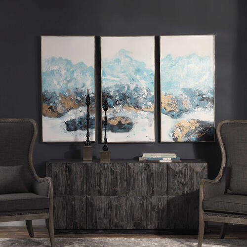 Crashing Waves Hand Painted Canvases, S/3