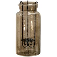 Hurricane Tea Light Jar  19In Rippled Glass & Metal Drop Tea Light Candle