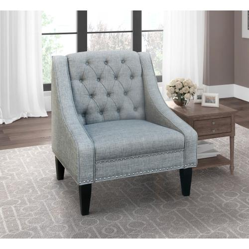 Tufted Swoop Arm Accent Chair in Gray