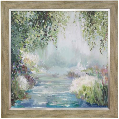 Style Craft - SUNNY FOREST PATH  42in w X 42in ht  Textured Framed Print  Made in USA