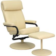 Contemporary Multi-Position Headrest Recliner and Ottoman with Wrapped Base in Cream LeatherSoft