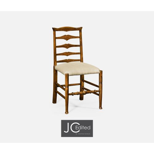 Country Walnut Ladder Back Side Chair, Upholstered in MAZO