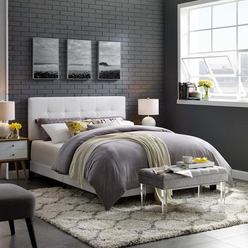 Modway - Amira King Upholstered Fabric Bed in White