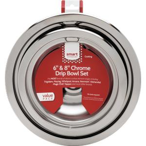FrigidaireSmart Choice 6'' and 8'' Chrome Drip Bowl Set, Fits Most