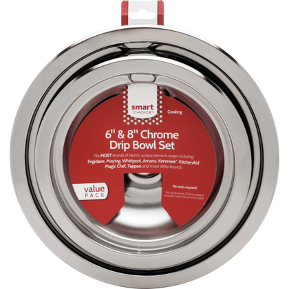 See Details - Smart Choice 6'' and 8'' Chrome Drip Bowl Set, Fits Most