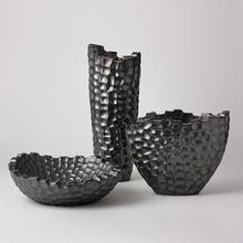 Random Grid Vase-Graphite-Tall
