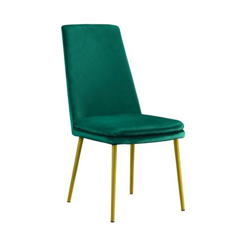 Accentrics Home - Modern Upholstered Dining Chair in Green Velvet (2pc)