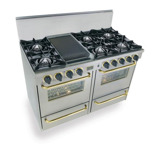 """Five Star - 48"""" All Gas Range, Open Burners, Stainless Steel with Brass Trim"""