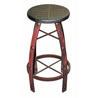 Red Scraped Round Barstool