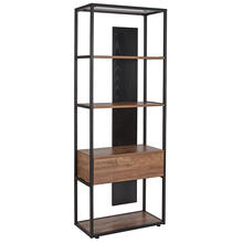 "Tiverton Collection Industrial Style 4 Shelf 59""H Bookcase with Open and Panel Backing in Dark Ash"