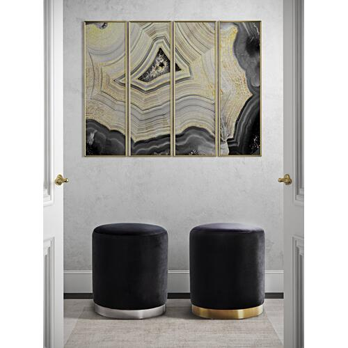Tov Furniture - Opal Black Velvet Ottoman -Silver Base