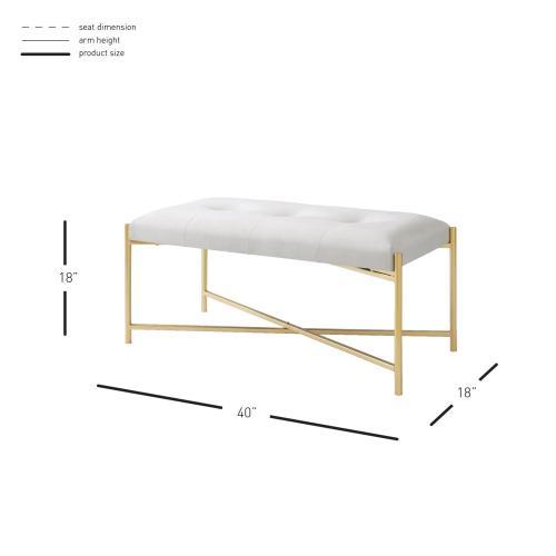 Product Image - Stanford KD Velvet Fabric Bench, Serene Light Cream/ Gold