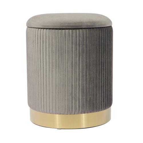 Tov Furniture - Zoe Grey Velvet Storage Ottoman