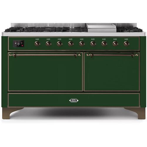 Majestic II 60 Inch Dual Fuel Natural Gas Freestanding Range in Emerald Green with Bronze Trim