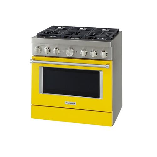 KitchenAid® 36'' Smart Commercial-Style Dual Fuel Range with 6 Burners - Yellow Pepper