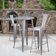 """See Details - Commercial Grade 24"""" Round Silver Metal Indoor-Outdoor Bar Table Set with 2 Cafe Stools"""