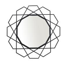 """See Details - Metal 35"""" Geometric Mirror, Black Wb"""