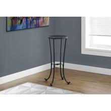 ACCENT TABLE - HAMMERED BLACK METAL WITH TEMPERED GLASS