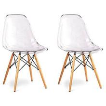 See Details - Eiffel Dining Room Chair with Natural Wood Legs - Reproduction - Set-of-2, Clear