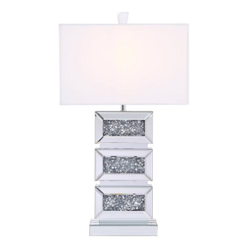 Sparkle Collection 1-Light Silver Crystal Table Lamp