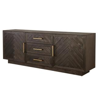 Wellington Herringbone Sideboard 3 Drawers + 2 Doors, Thames Dark Brown