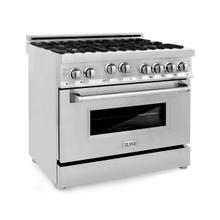 ZLINE 36 in. Professional 4.6 cu. ft. 6 Gas on Gas Range in Stainless Steel with Brass Burners (RG-BR-36)