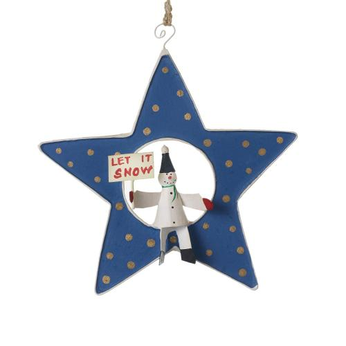 "1.25"" x 5"" Blue Shooting Star Ornament (Snowman Option)"