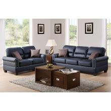 Marwa 2pc Loveseat & Sofa Set, Black Bonded Leather