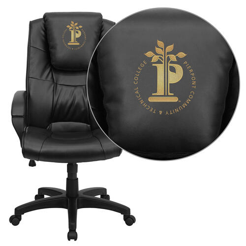 Pierpont Community & Technical College Embroidered Black Leather Executive Office Chair