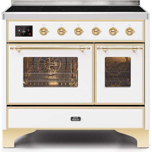 Majestic II 40 Inch Electric Freestanding Range in White with Brass Trim