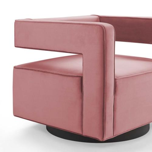 Booth Performance Velvet Swivel Armchair in Dusty Rose