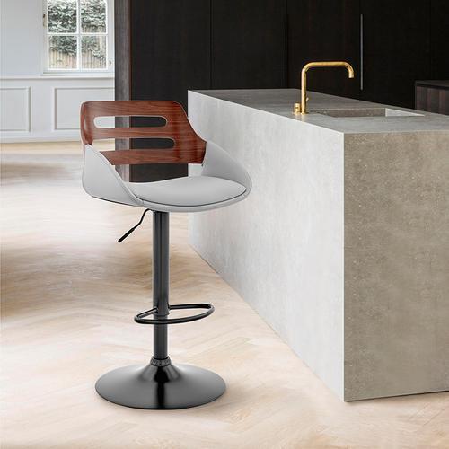 Armen Living - Karter Adjustable Grey Faux Leather and Walnut Wood Bar Stool with Black Base
