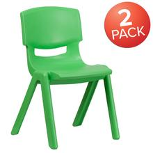"2 Pack Green Plastic Stackable School Chair with 15.5"" Seat Height"