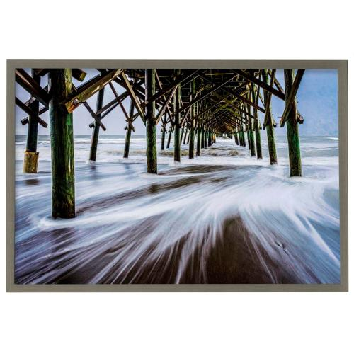 Style Craft - The Rushing Tide I  Made in USA  Artist Print  Faux Wood Frame Under Glass  Attached Hanging Har