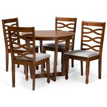 See Details - Baxton Studio Alicia Modern and Contemporary Grey Fabric Upholstered and Walnut Brown Finished Wood 5-Piece Dining Set