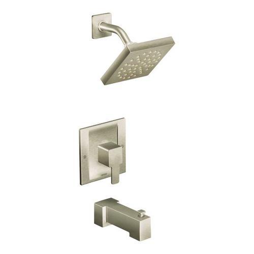 90 Degree brushed nickel moentrol® tub/shower