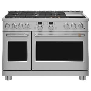 "Cafe Appliances48"" Smart Dual-Fuel Commercial-Style Range with 6 Burners and Griddle (Natural Gas)"
