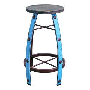 Light Blue Scrape Round Barstool