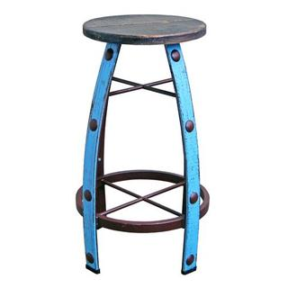 Light Blue Scrape Round Barstool