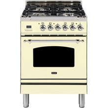 Nostalgie 24 Inch Dual Fuel Natural Gas Freestanding Range in Antique White with Chrome Trim