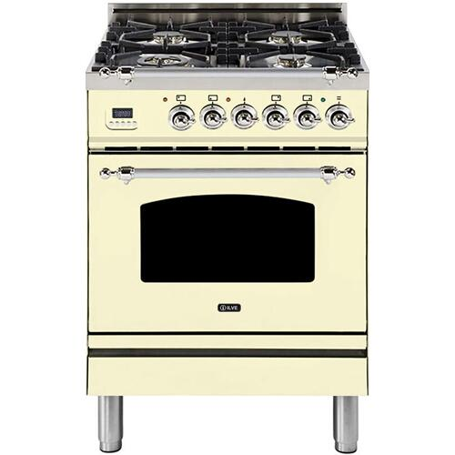 Ilve - Nostalgie 24 Inch Dual Fuel Natural Gas Freestanding Range in Antique White with Chrome Trim