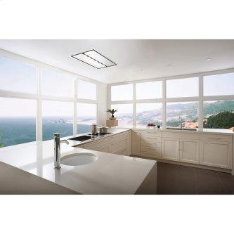 43-inch Brushed Stainless Steel Ceiling Mounted Range Hood with LED Light. Choice of external blowers sold separately (CC34-43 Series)
