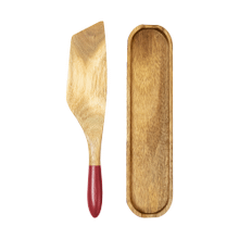 Mad Hungry 2-Piece Acacia Wood Spurtle Set, Red