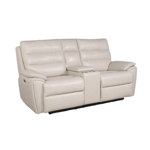 Duval Ivory 3-Piece Dual-Power Leather Reclining Set(Sofa, Loveseat & Chair)