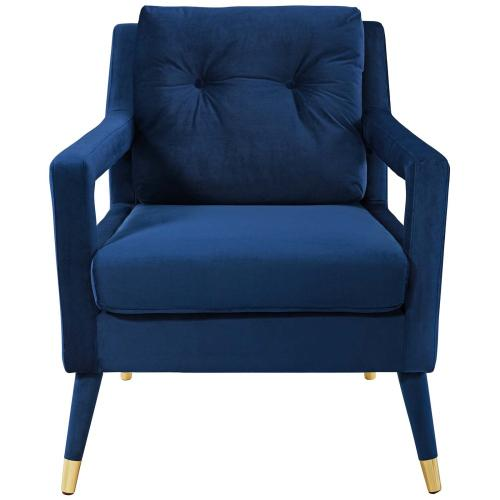 Premise Accent Lounge Performance Velvet Armchair in Navy