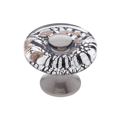 Satin Nickel 35 mm Clear Flat Round Knob
