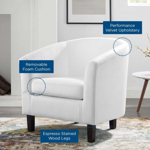 Prospect Performance Velvet Armchair in White