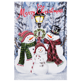 Merry Christmas Snowmen Light Up Canvas Plaque